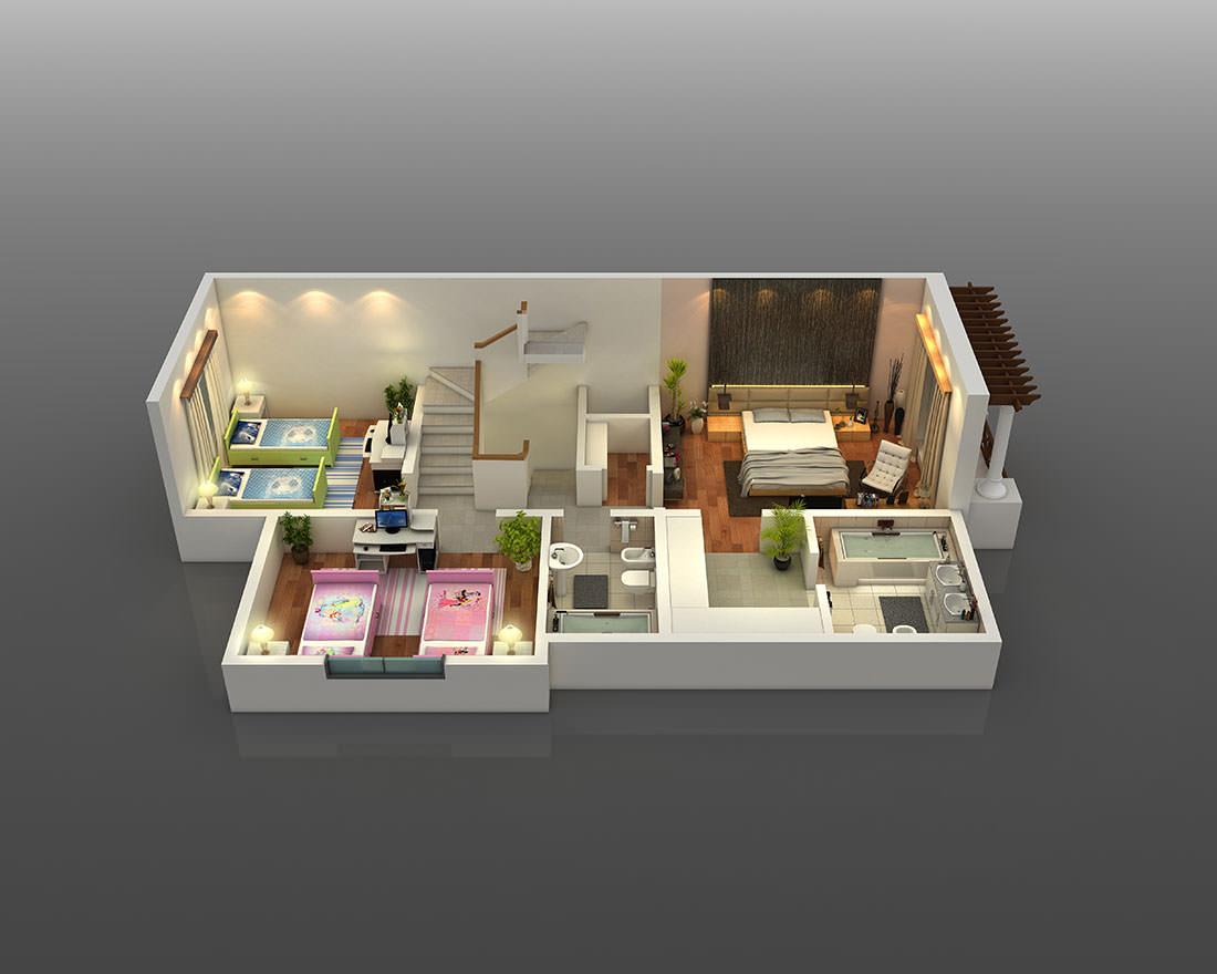 3D & 2D Floor Plans - Pixarch Home Istant Floor Plan D on