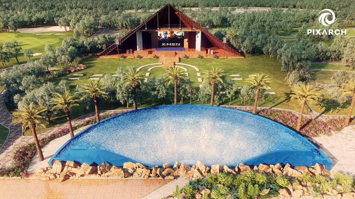 dallas aquatic hotel 3d exterior view