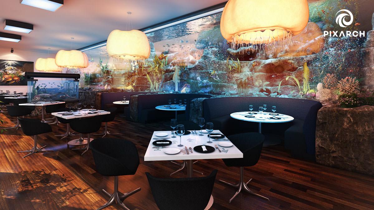 dallas aquatic hotel 3d interior view