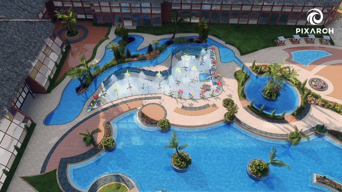 dallas aquatic hotel 3d view | pixarch
