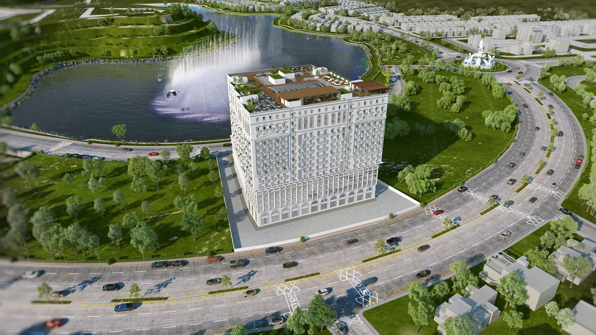 crescent lake tower 3d exterior view