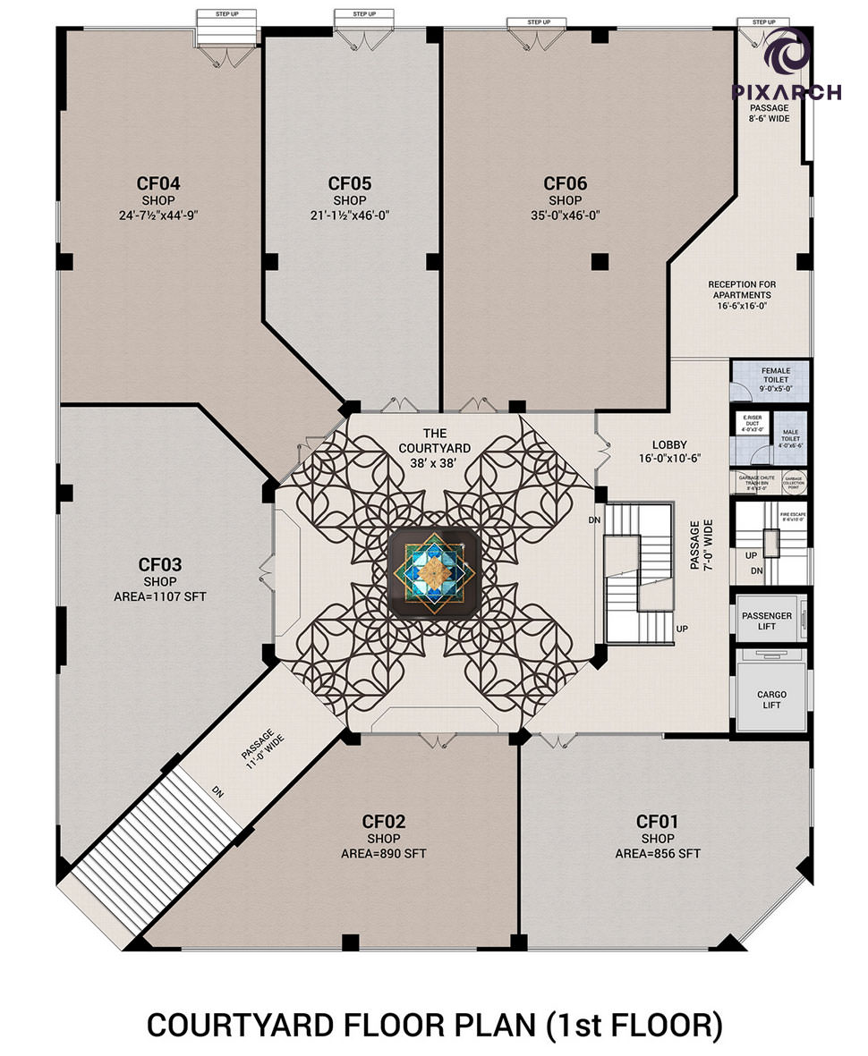 piccadilly courtyard 3d floor plan