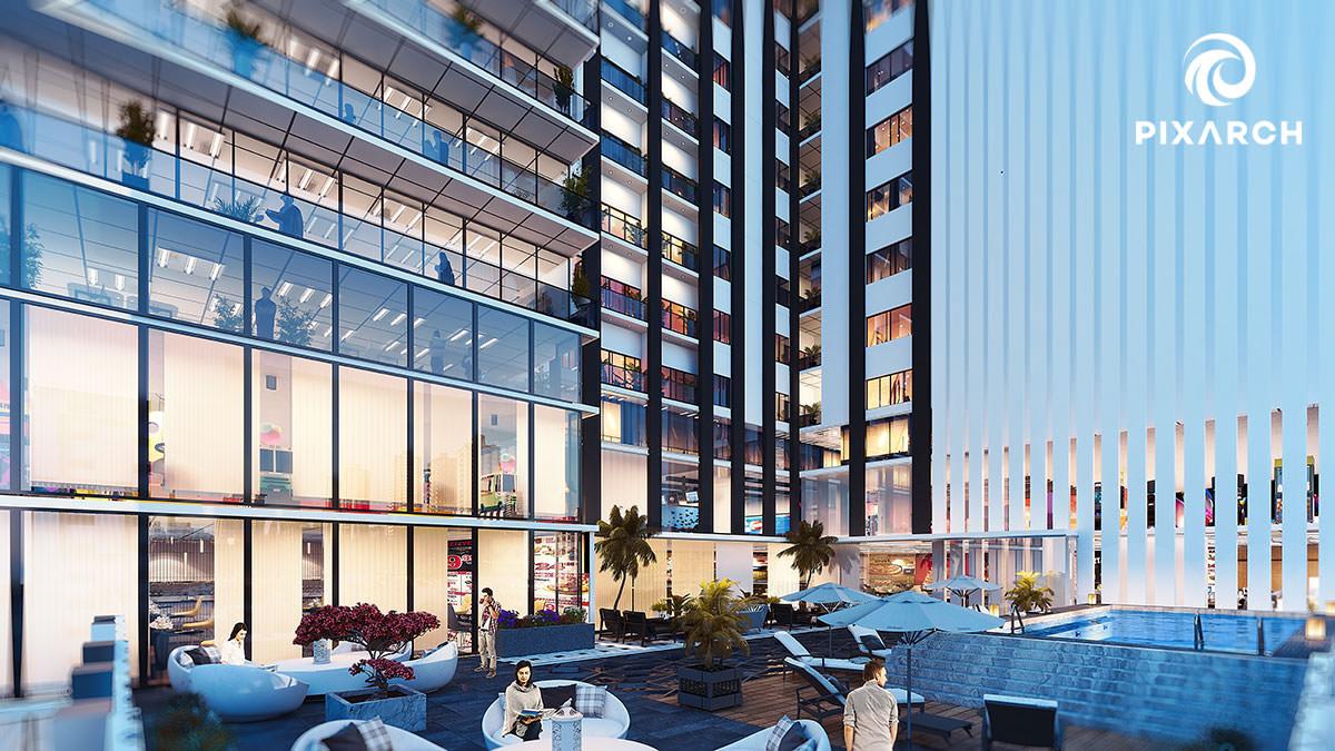 winston mall & residencia 3d exterior view